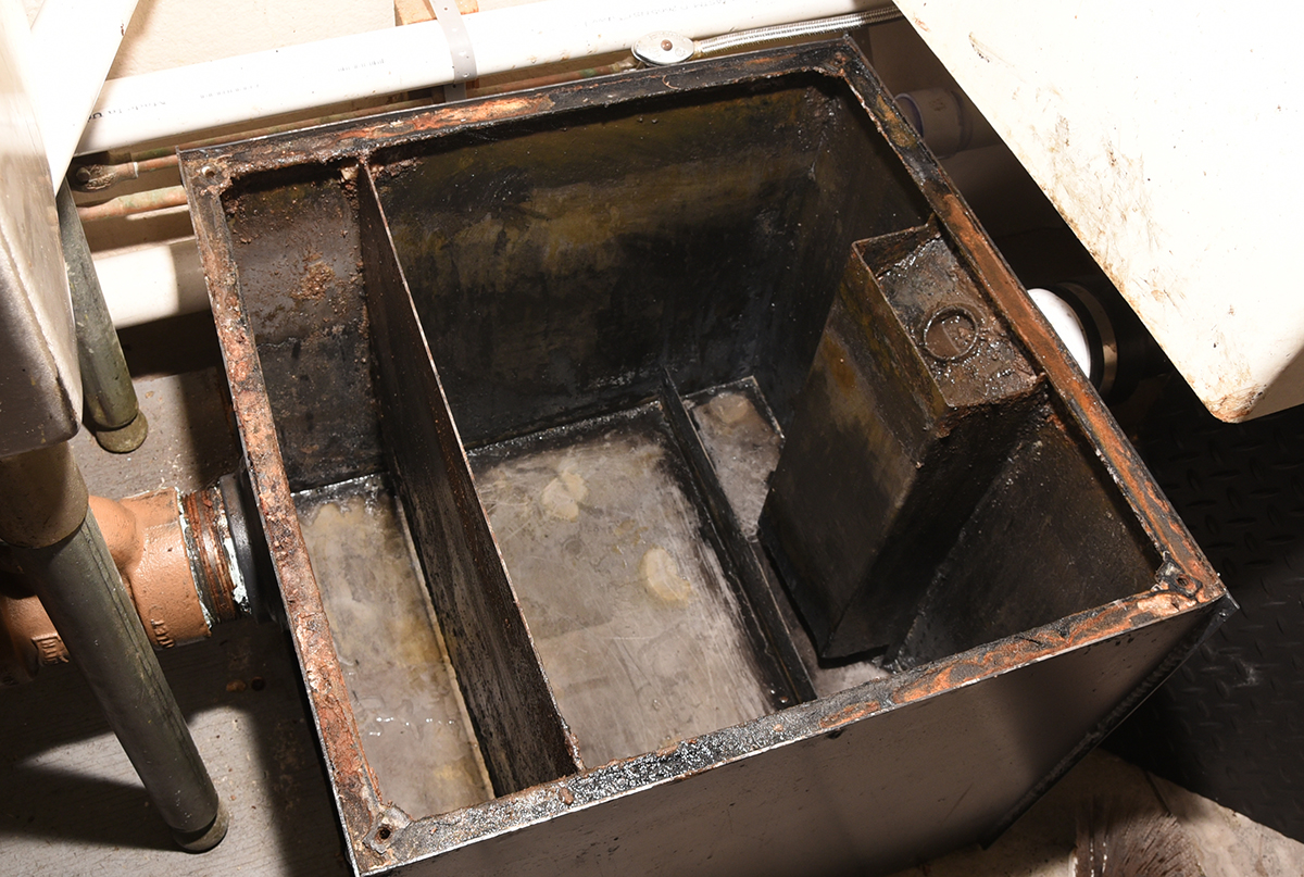 Recently-cleaned grease trap